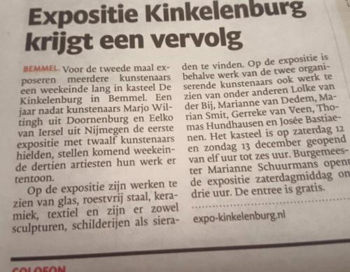 Leuk persbericht in Dagblad de Gelderlander op 9 december 2015